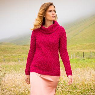 Womens Doonbeg Fuchsia Aran Sweater