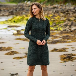 Womens Glenmore Army Green Aran Dress