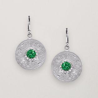 Celtic Shield Drop Earrings Green