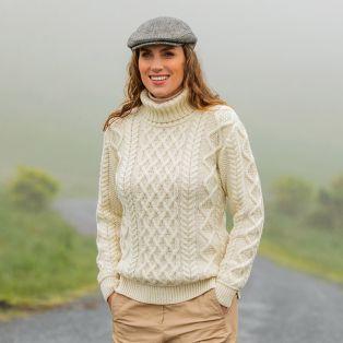 The Carrick Polo Neck Aran Sweater
