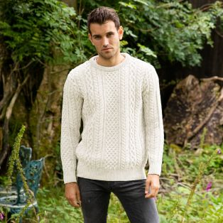 Mens Inishmaan Crew Neck Fisherman's Sweater
