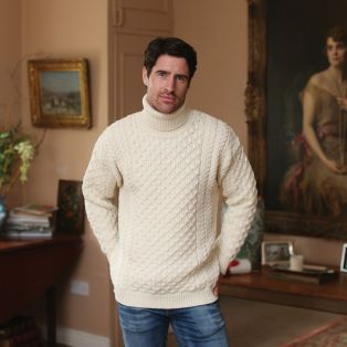 Men's Aran Turtleneck Sweater