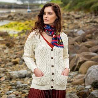 Ladies Aran Boyfriend Cardigan Cream