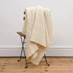 Irish Aran Honeycomb Throw