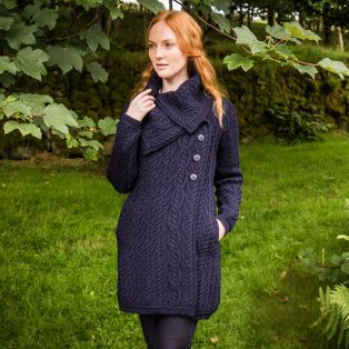 Ladies Aran Wide Collared Button Coat