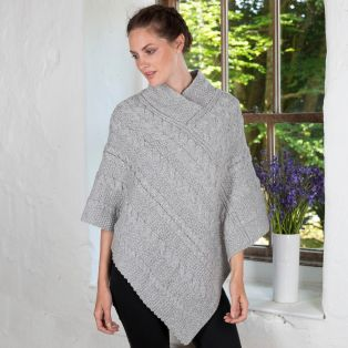 Ladies Aran Cable Knit Poncho