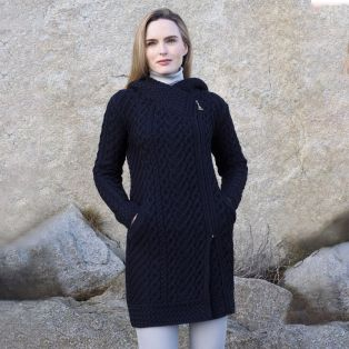 Women's Navy Claddagh Aran Zipper Coat
