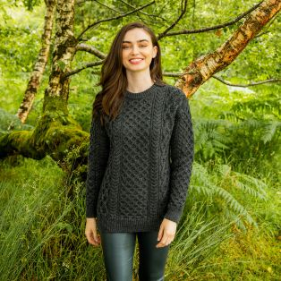 Women's Charcoal Blasket Honeycomb Stitch Aran Sweater