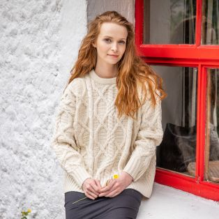 Womens Clifden Aran Sweater by Paul Costelloe