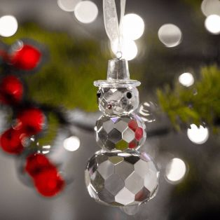 Galway Crystal Snowman Gem Hanging Ornament