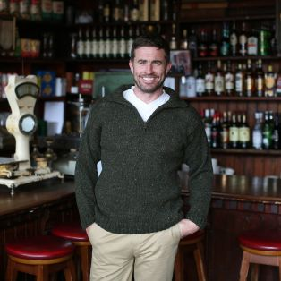 Donegal Wool Irish  Zipper Sweater