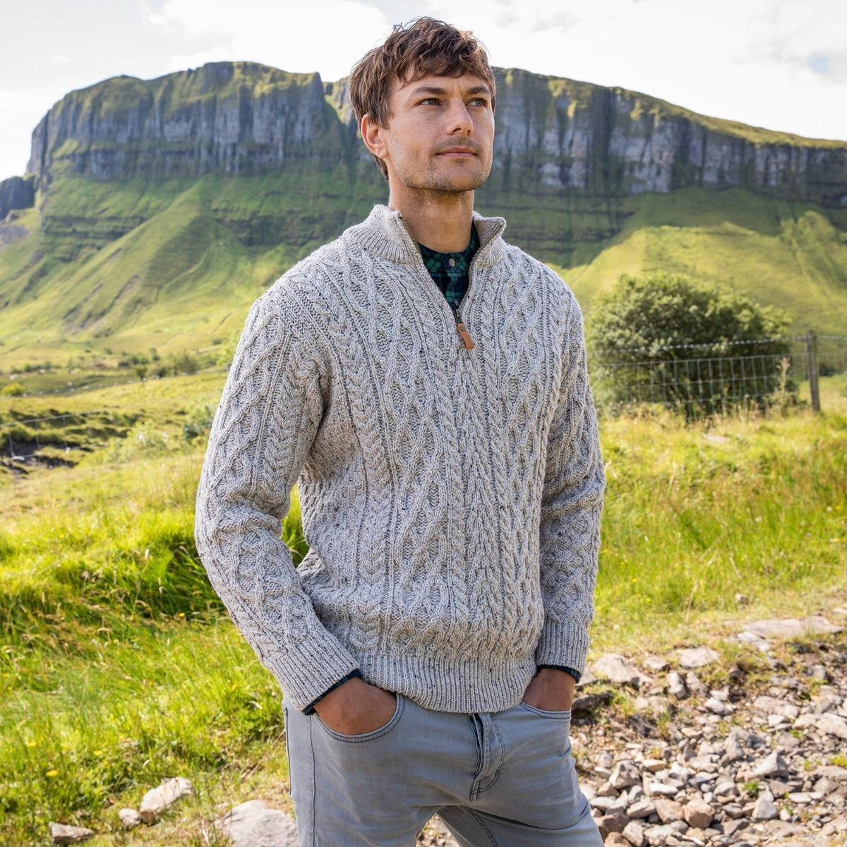 Mens zip Aran sweater