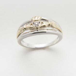 10k Gold & Silver Diamond Claddagh Engagement Ring