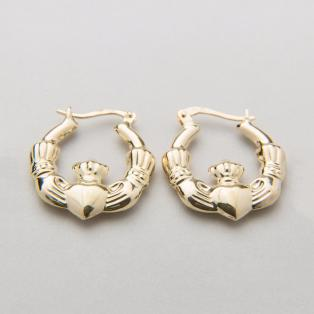 14K Gold Claddagh Hoop Earrings