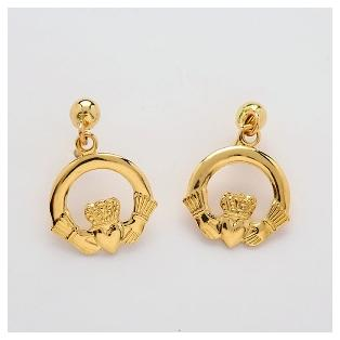 10k Gold Claddagh Drop Earrings
