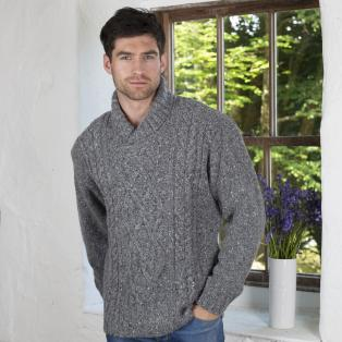 Aran Shawl Collar Sweater