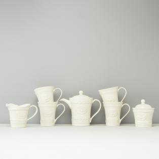 Belleek Claddagh Tea Set - Mugs(4), Pot, Jug, Bowl