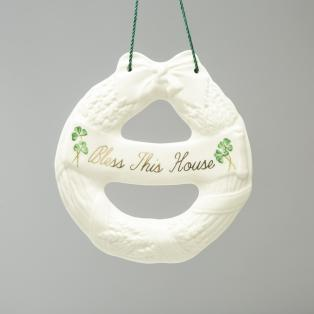 Belleek Irish House Wreath Hanging Ornament