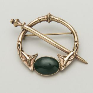 Celtic Bronze Green Agate Brooch