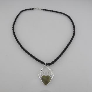 Connemara Marble Claddagh Woven Cord Pendant
