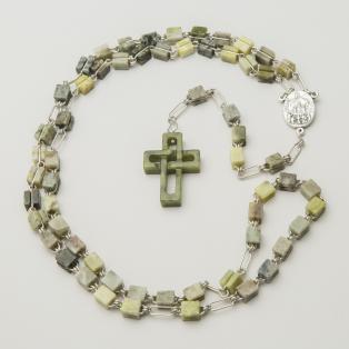 Connemara Marble Rosary Beads Woven Cross