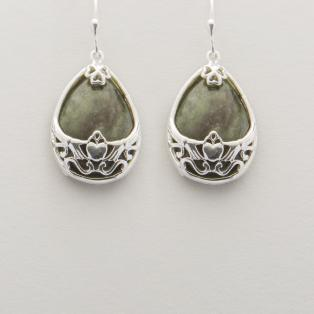 Connemara Marble Silver Basket Claddagh Earrings