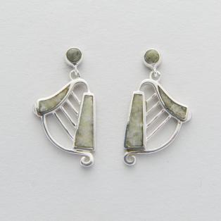 Connemara Marble Sterling Silver Harp Earrings