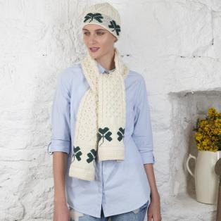 Cream Hat & Scarf with Shamrocks
