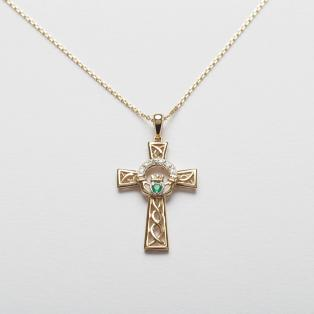 Diamond & Emerald Claddagh Cross Pendant 14k