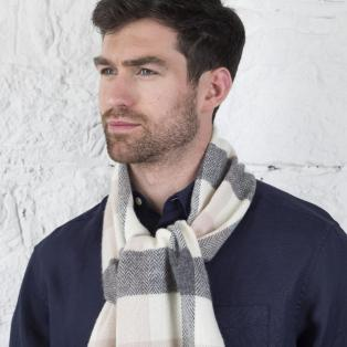 Foxford Lambswool Block Check Scarf