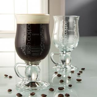 Galway Crystal Pair Of Irish Coffee Recipe Glasses
