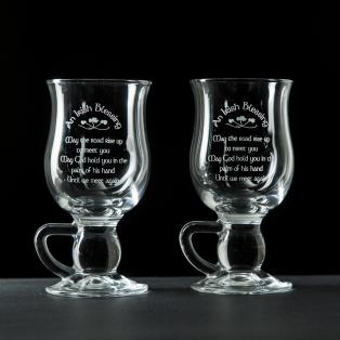 Galway Crystal Irish Blessing Coffee Glasses Pair