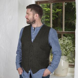 Green Donegal Tweed Men's Waistcoat