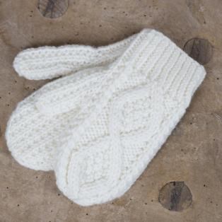 Handknitted Childrens Aran Mittens