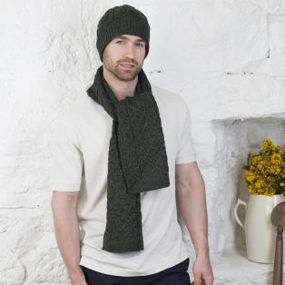 Honeycomb Aran Hat & Scarf Set