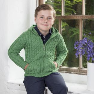 Kids Merino Hooded Aran Zip Cardigan