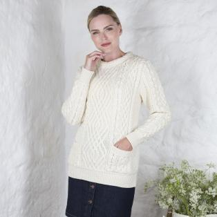 Ladies Aran Cable Pocket Sweater