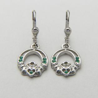 Lucky Crystal Claddagh Earrings