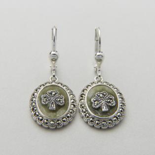 Marcasite Shamrock Marble Earrings