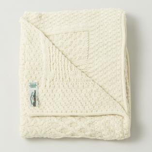 Merino Wool Cream Patchwork Blanket