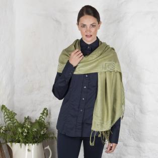 Moss Green Pure New Wool Silk Celtic Irish Design Pashmina Scarf