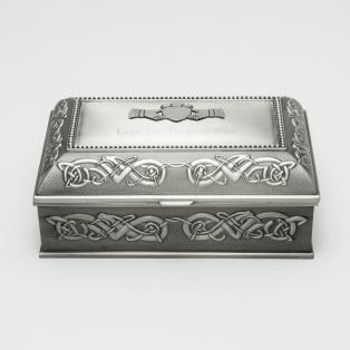 Personalized Mullingar Pewter Antique Jewellery Box