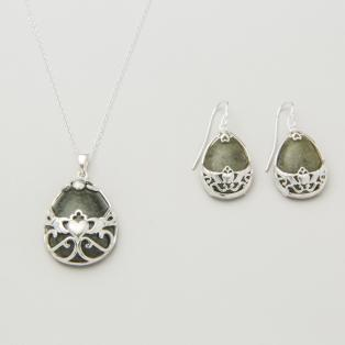 Silver Basket Claddagh Earrings & Pendant Set