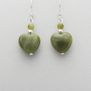 Silver Connemara Marble Heart Earrings