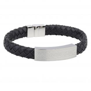 Steel Gents Medium Black Leather Bracelet