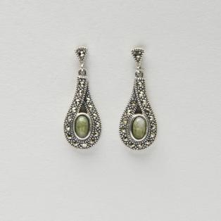 Sterling Silver Irish Marble & Marcasite Earrings