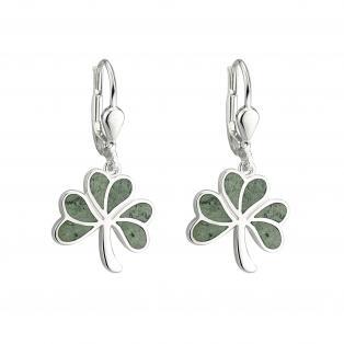Sterling Silver Marble Shamrock Earrings
