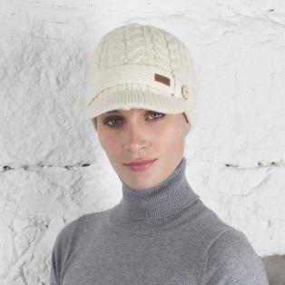 Stylish Irish White Brooklyn Peak Cable Hat