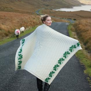 Merino Wool Irish Shamrock Blanket