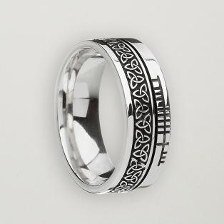 Oxidized Sterling Silver Ogham Faith Trinity Band